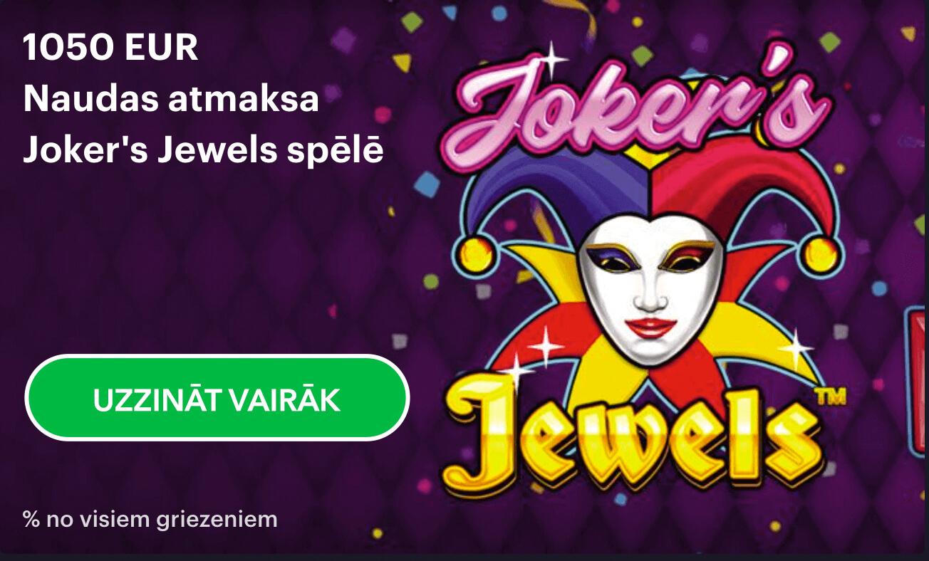 naudas atmaksa Joker's Jewels spēlē